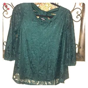 Emerald Green Lace Blouse